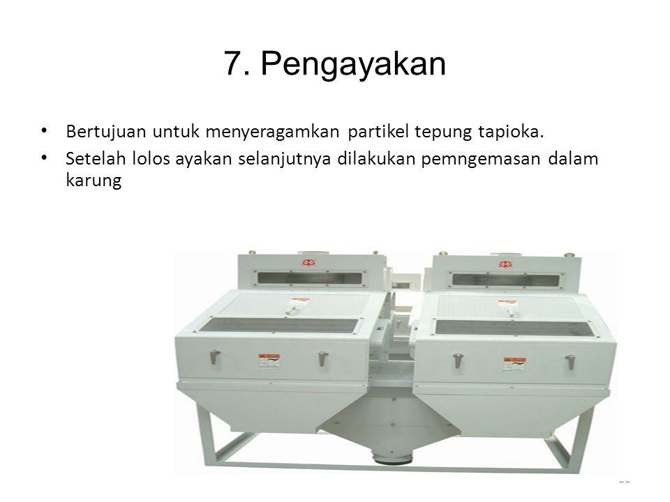7.Pengayakan Bertujuan untuk menyeragamkan partikel tepung tapioka.