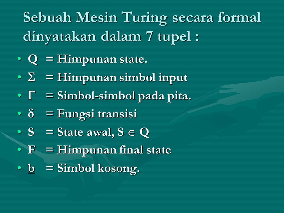 Sebuah Mesin Turing secara formal dinyatakan dalam 7 tupel : Q= Himpunan state.Q= Himpunan state.  = Himpunan simbol input  = Himpunan simbol input