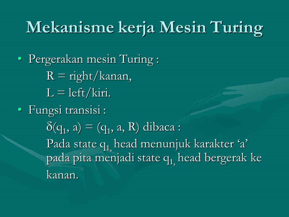 Mekanisme kerja Mesin Turing Pergerakan mesin Turing :Pergerakan mesin Turing : R = right/kanan, L = left/kiri. Fungsi transisi :Fungsi transisi :  (