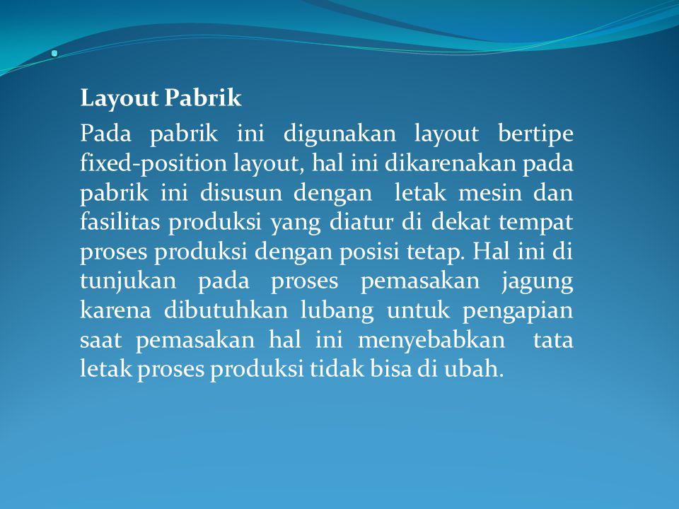 Layout Pabrik Pada pabrik ini digunakan layout bertipe fixed-position layout, hal ini dikarenakan pada pabrik ini disusun dengan letak mesin dan fasilitas produksi yang diatur di dekat tempat proses produksi dengan posisi tetap.