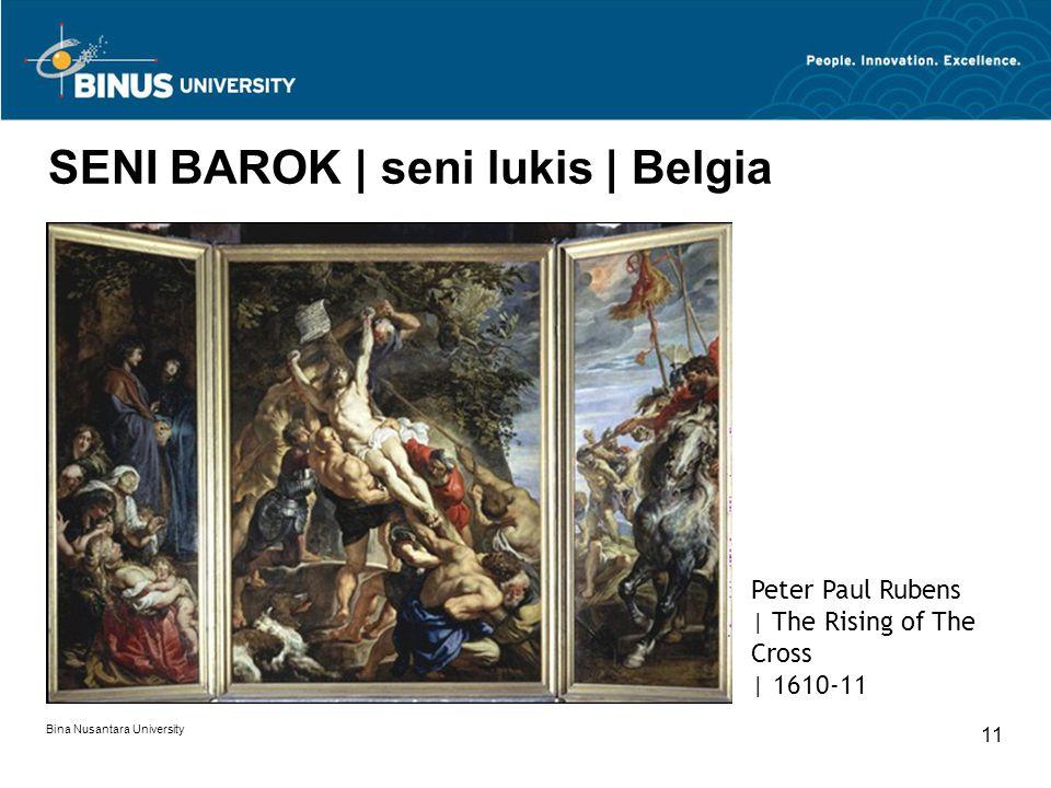 Bina Nusantara University 11 SENI BAROK | seni lukis | Belgia Peter Paul Rubens | The Rising of The Cross | 1610-11