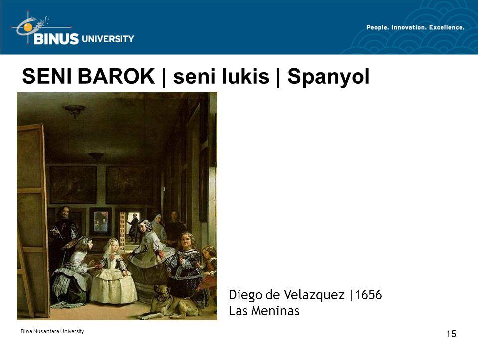 Bina Nusantara University 15 SENI BAROK | seni lukis | Spanyol Diego de Velazquez |1656 Las Meninas