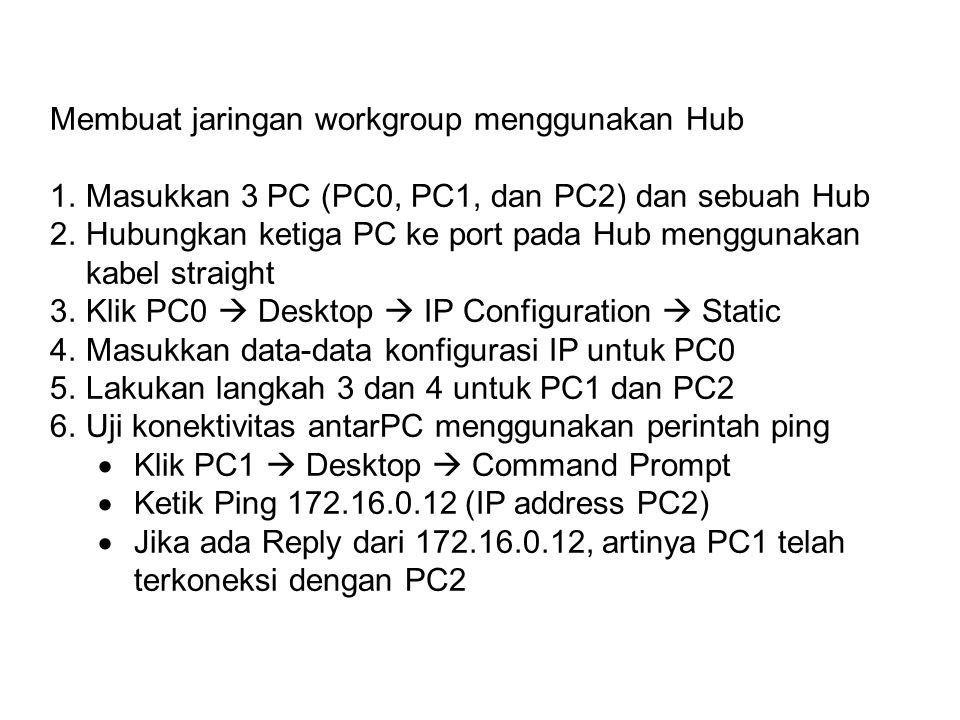 Membuat jaringan workgroup menggunakan Hub 1.Masukkan 3 PC (PC0, PC1, dan PC2) dan sebuah Hub 2.Hubungkan ketiga PC ke port pada Hub menggunakan kabel straight 3.Klik PC0  Desktop  IP Configuration  Static 4.Masukkan data-data konfigurasi IP untuk PC0 5.Lakukan langkah 3 dan 4 untuk PC1 dan PC2 6.Uji konektivitas antarPC menggunakan perintah ping  Klik PC1  Desktop  Command Prompt  Ketik Ping 172.16.0.12 (IP address PC2)  Jika ada Reply dari 172.16.0.12, artinya PC1 telah terkoneksi dengan PC2