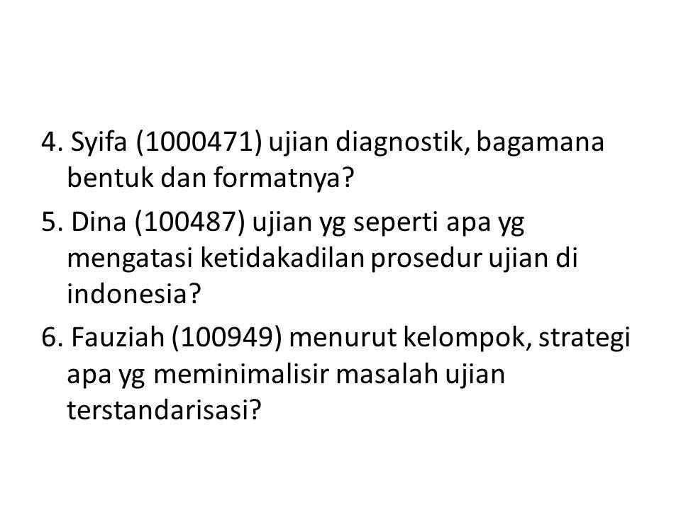 4. Syifa (1000471) ujian diagnostik, bagamana bentuk dan formatnya? 5. Dina (100487) ujian yg seperti apa yg mengatasi ketidakadilan prosedur ujian di