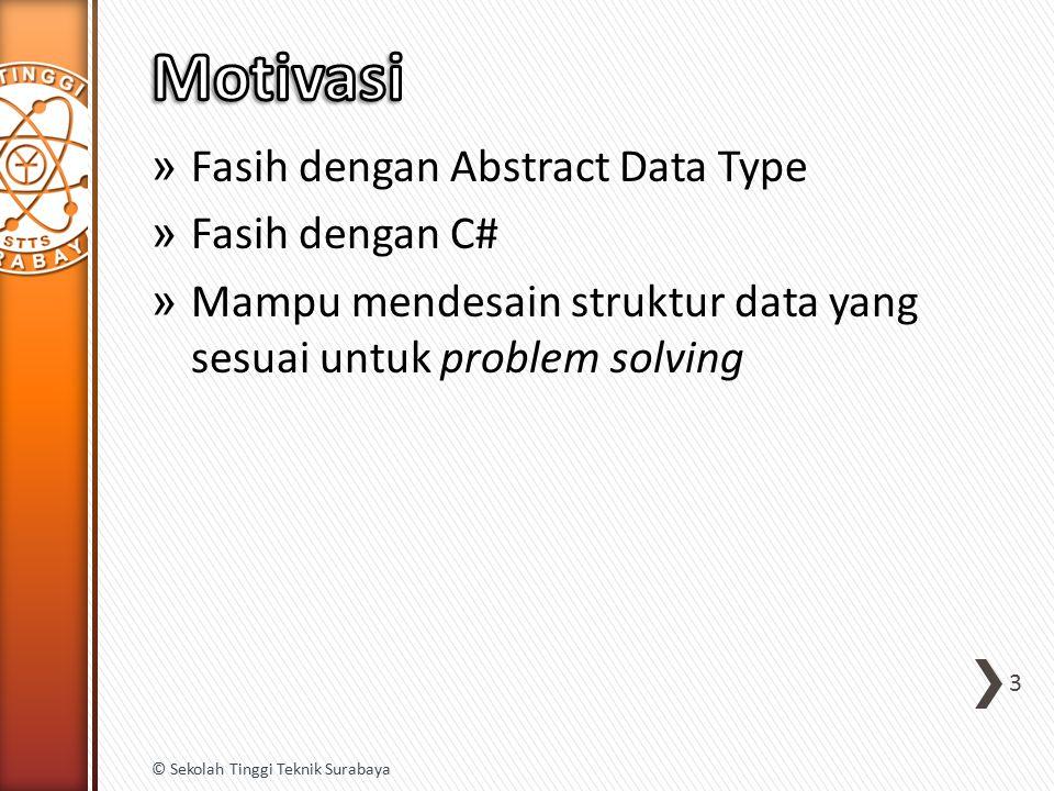 » Fasih dengan Abstract Data Type » Fasih dengan C# » Mampu mendesain struktur data yang sesuai untuk problem solving 3 © Sekolah Tinggi Teknik Surabaya