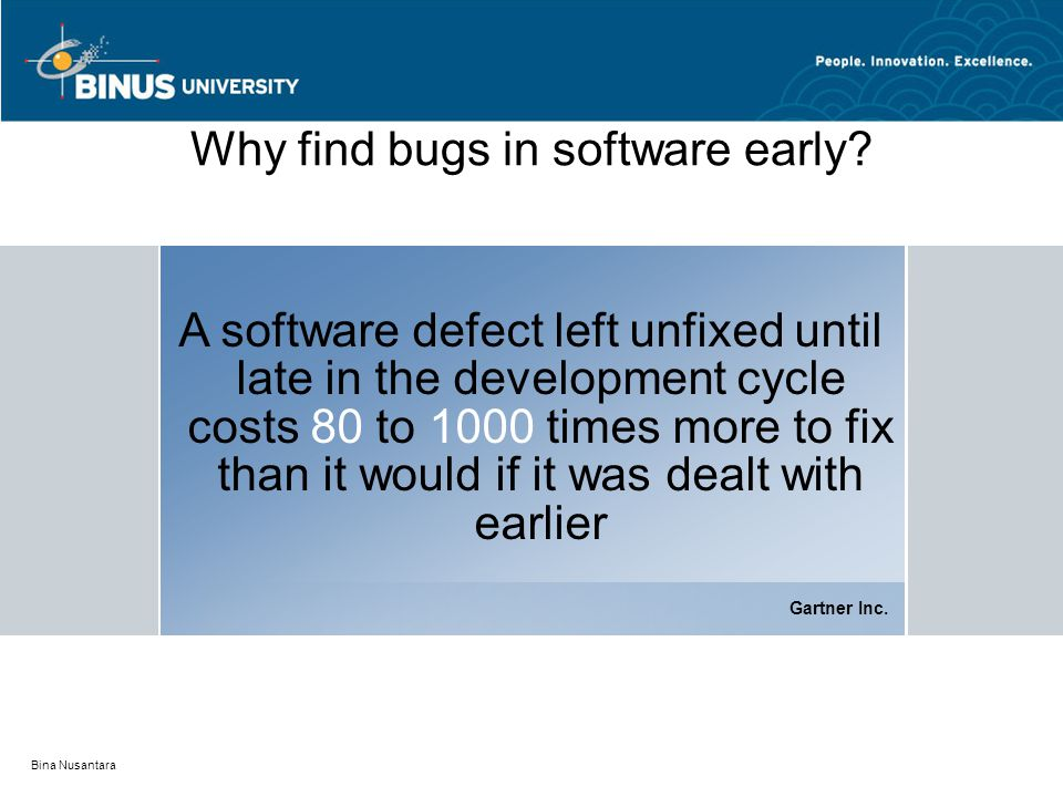 Bina Nusantara Why find bugs in software early? A software defect left unfixed until late in the development cycle costs 80 to 1000 times more to fix