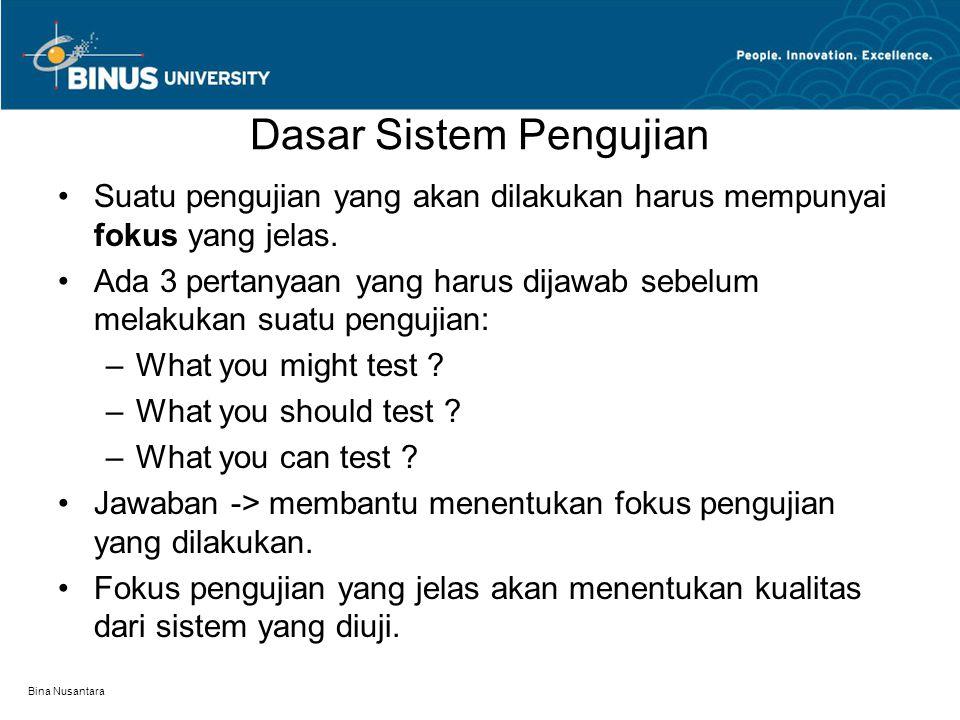 Bina Nusantara Dasar Sistem Pengujian Suatu pengujian yang akan dilakukan harus mempunyai fokus yang jelas. Ada 3 pertanyaan yang harus dijawab sebelu