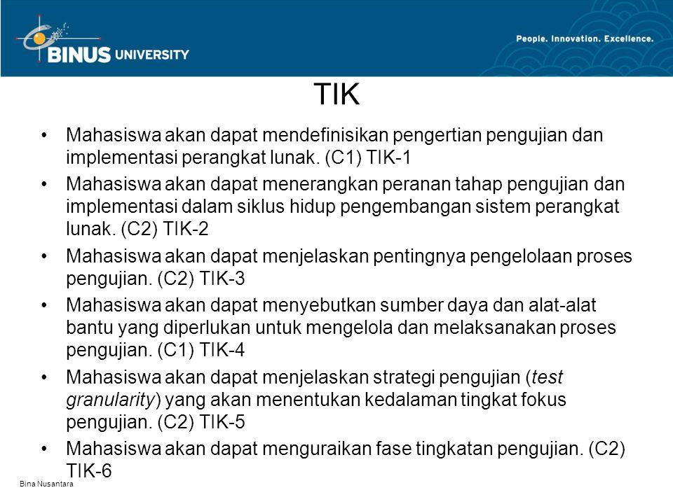 Bina Nusantara TIK Mahasiswa akan dapat mendefinisikan pengertian pengujian dan implementasi perangkat lunak. (C1) TIK-1 Mahasiswa akan dapat menerang