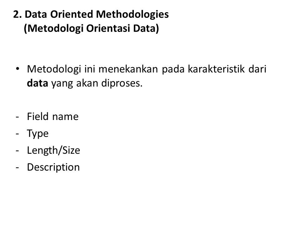 2. Data Oriented Methodologies (Metodologi Orientasi Data) Metodologi ini menekankan pada karakteristik dari data yang akan diproses. -Field name -Typ