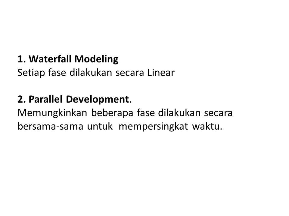 1. Waterfall Modeling Setiap fase dilakukan secara Linear 2. Parallel Development. Memungkinkan beberapa fase dilakukan secara bersama-sama untuk memp