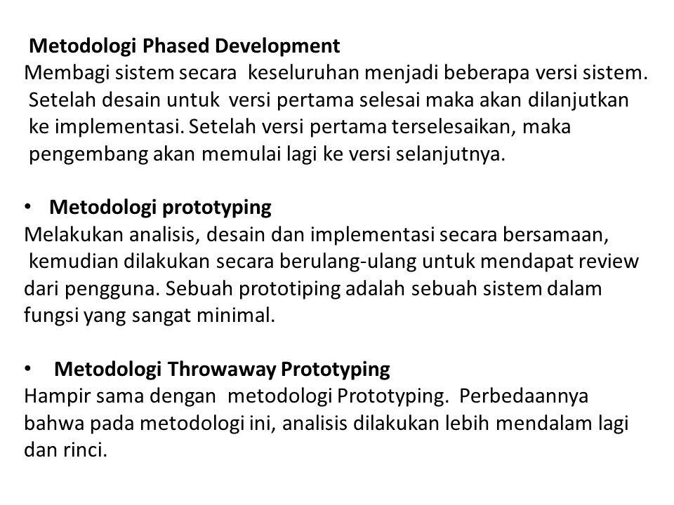 Metodologi Phased Development Membagi sistem secara keseluruhan menjadi beberapa versi sistem. Setelah desain untuk versi pertama selesai maka akan di