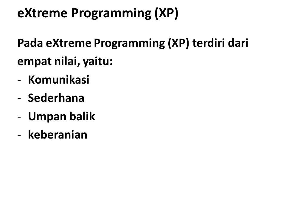 eXtreme Programming (XP) Pada eXtreme Programming (XP) terdiri dari empat nilai, yaitu: -Komunikasi -Sederhana -Umpan balik -keberanian