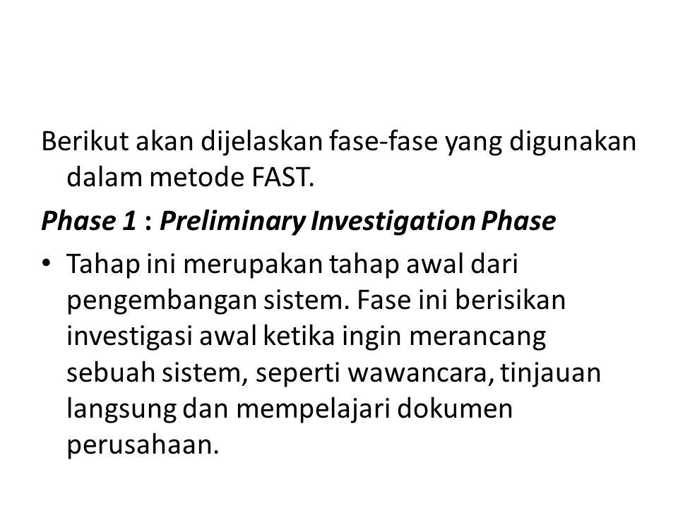 Berikut akan dijelaskan fase-fase yang digunakan dalam metode FAST. Phase 1 : Preliminary Investigation Phase Tahap ini merupakan tahap awal dari peng