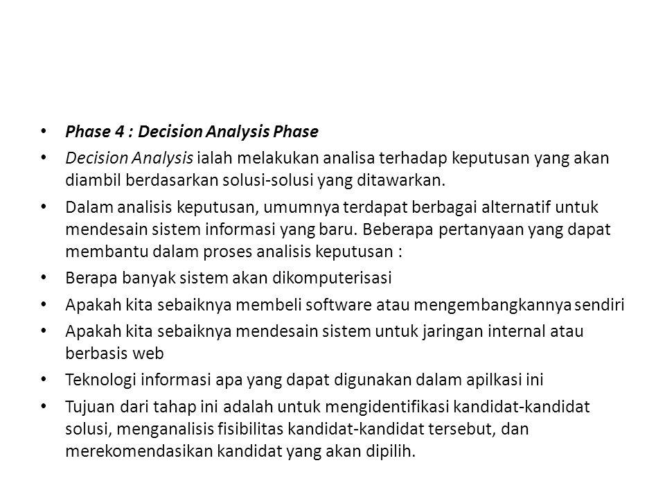 Phase 4 : Decision Analysis Phase Decision Analysis ialah melakukan analisa terhadap keputusan yang akan diambil berdasarkan solusi-solusi yang ditawa