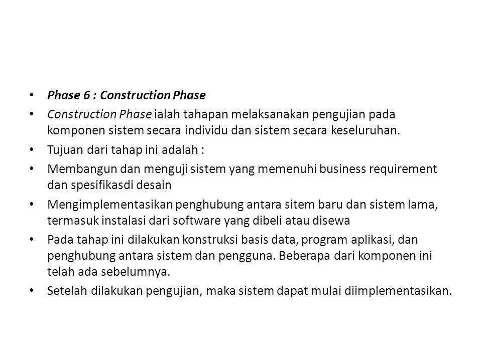 Phase 6 : Construction Phase Construction Phase ialah tahapan melaksanakan pengujian pada komponen sistem secara individu dan sistem secara keseluruha