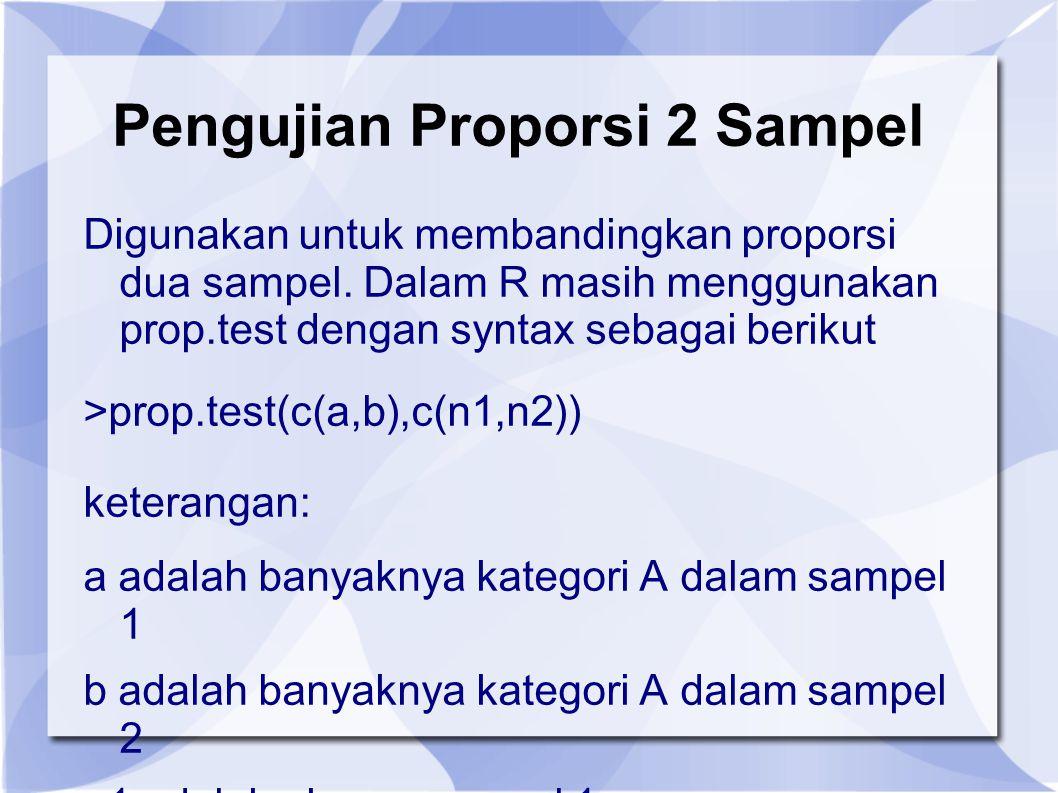 Pengujian Proporsi 2 Sampel Digunakan untuk membandingkan proporsi dua sampel.