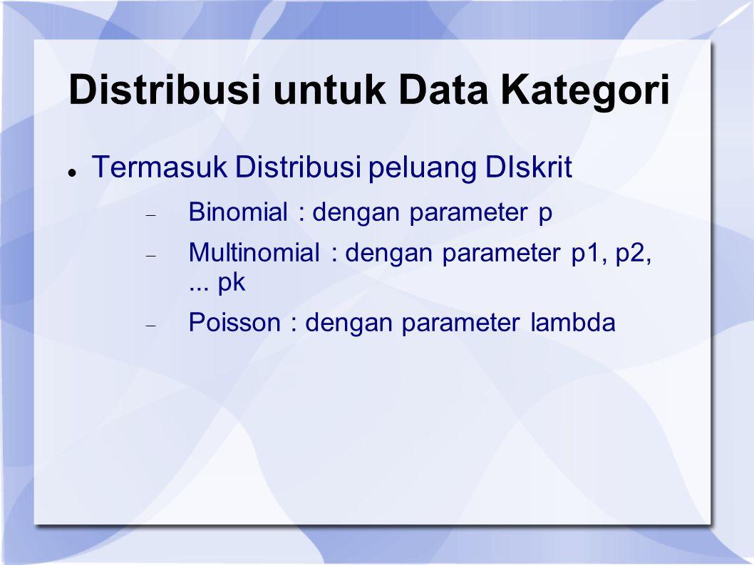 Distribusi untuk Data Kategori Termasuk Distribusi peluang DIskrit  Binomial : dengan parameter p  Multinomial : dengan parameter p1, p2,...