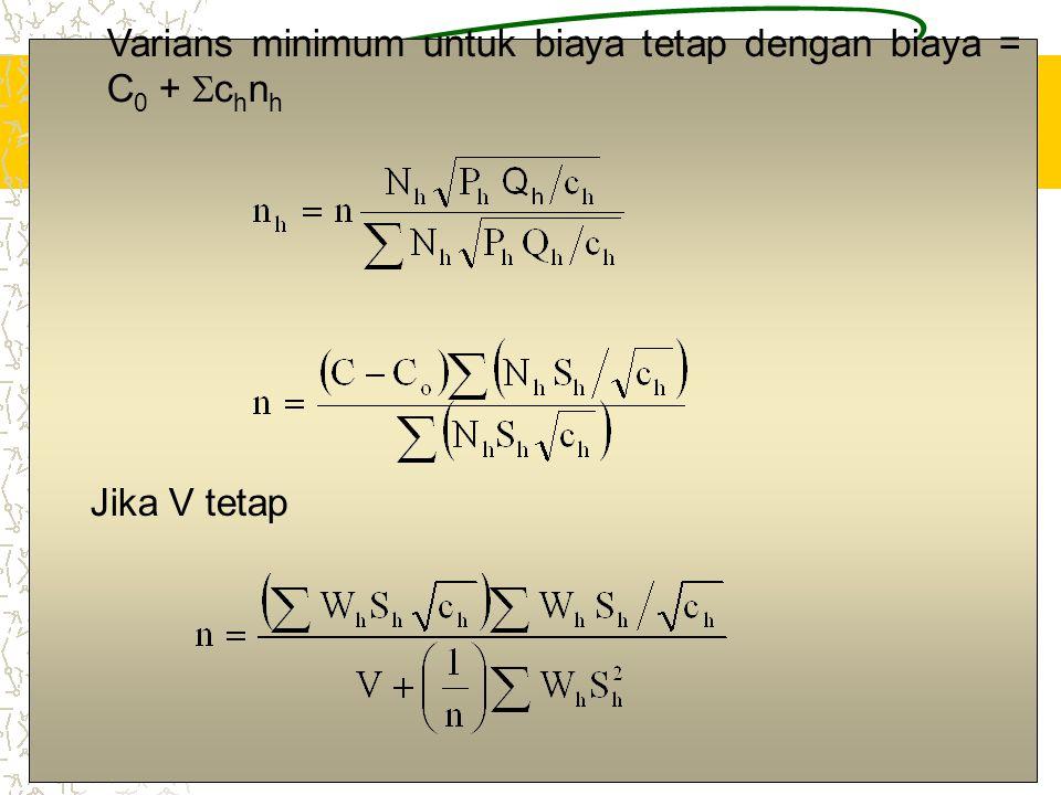 11 Varians minimum untuk biaya tetap dengan biaya = C 0 +  c h n h Jika V tetap