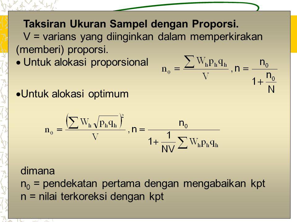12 Taksiran Ukuran Sampel dengan Proporsi. V = varians yang diinginkan dalam memperkirakan (memberi) proporsi.  Untuk alokasi proporsional  Untuk al