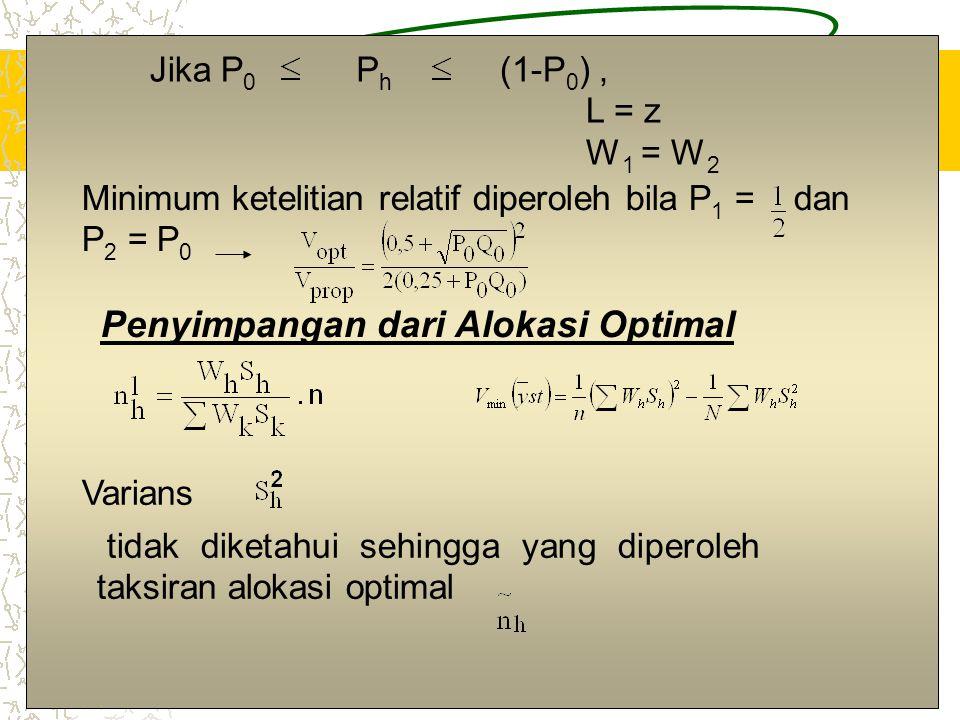 14 Jika P 0 Ph Ph (1-P 0 ), L = z W 1 = W 2 Minimum ketelitian relatif diperoleh bila P 1 = dan P 2 = P 0 Penyimpangan dari Alokasi Optimal Varians ti