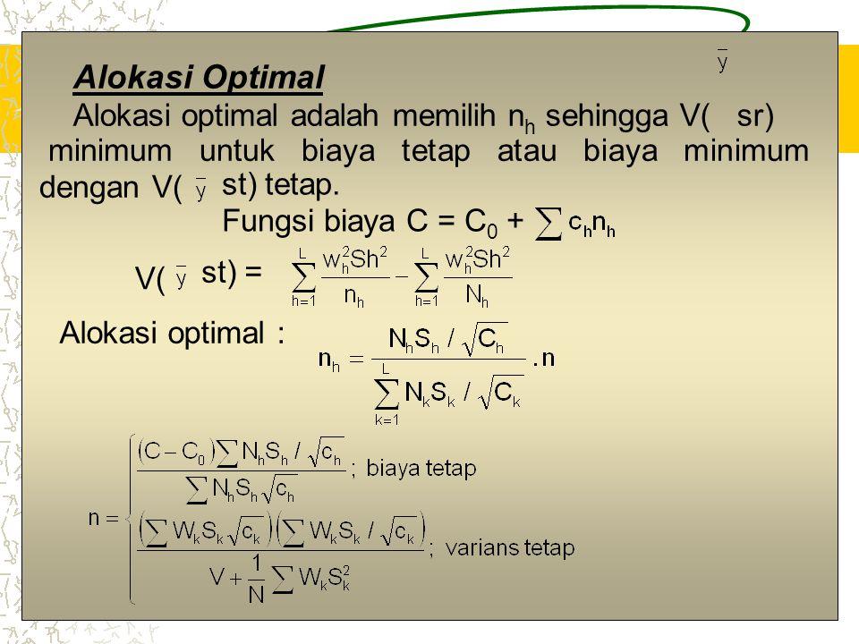 2 Alokasi Optimal Alokasi optimal adalah memilih n h sehingga V( sr) minimum untuk biaya tetap atau biaya minimum dengan V( st) tetap. Fungsi biaya C