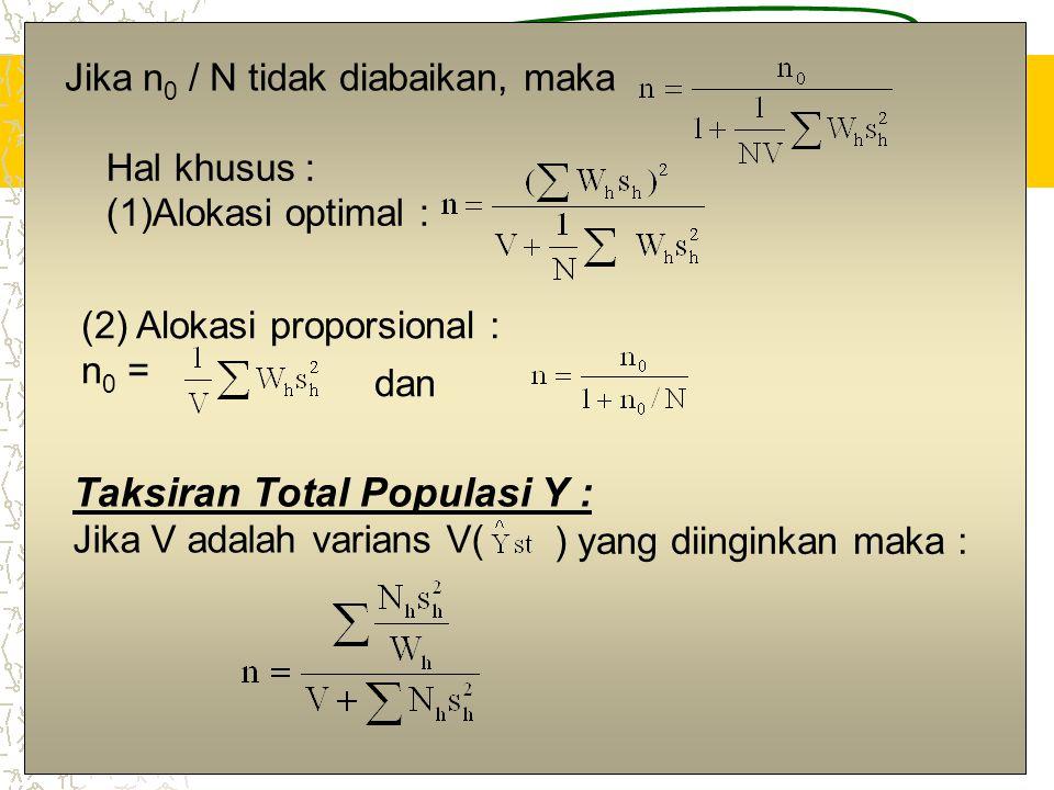 7 Jika n 0 / N tidak diabaikan, maka Hal khusus : (1)Alokasi optimal : (2) Alokasi proporsional : n 0 = dan Taksiran Total Populasi Y : Jika V adalah
