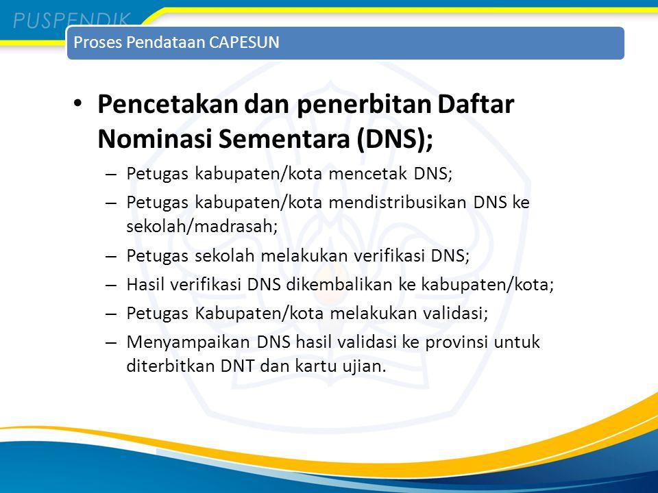 Proses Pendataan CAPESUN Pencetakan dan penerbitan Daftar Nominasi Sementara (DNS); – Petugas kabupaten/kota mencetak DNS; – Petugas kabupaten/kota me