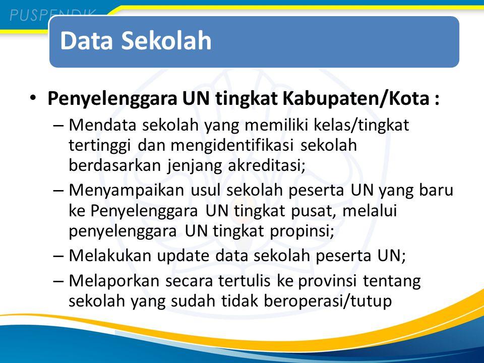 Data Sekolah Penyelenggara UN tingkat Kabupaten/Kota : – Mendata sekolah yang memiliki kelas/tingkat tertinggi dan mengidentifikasi sekolah berdasarka