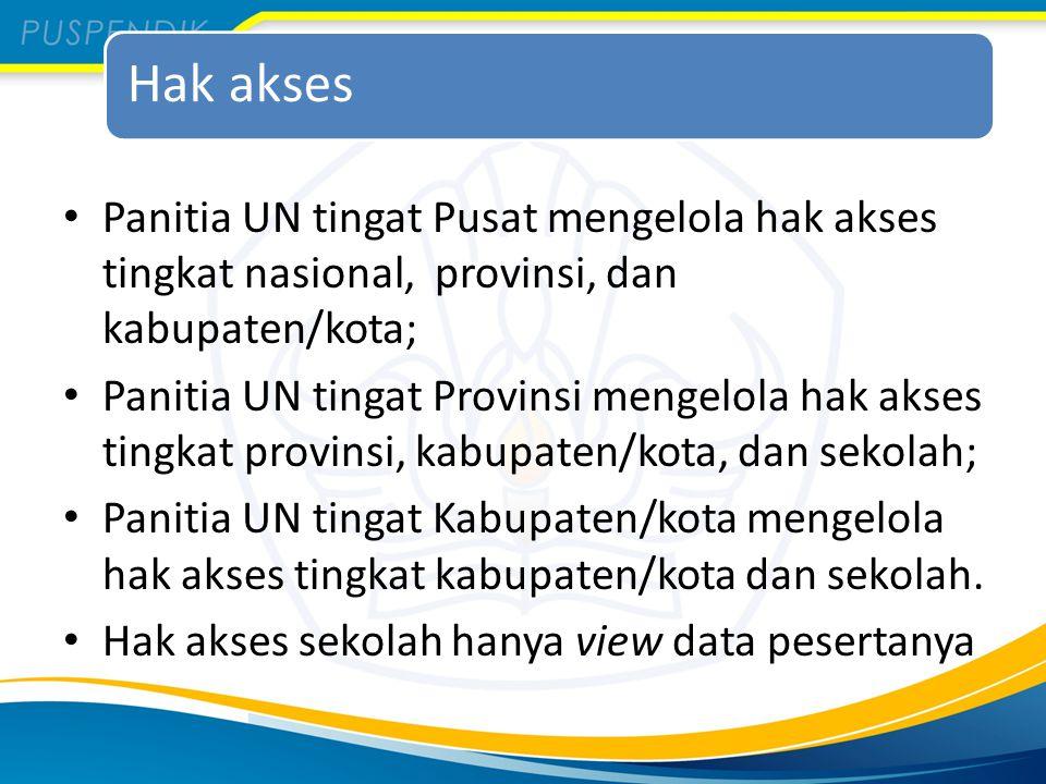 Hak akses Panitia UN tingat Pusat mengelola hak akses tingkat nasional, provinsi, dan kabupaten/kota; Panitia UN tingat Provinsi mengelola hak akses t