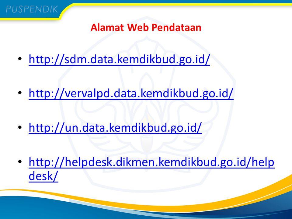 Alamat Web Pendataan http://sdm.data.kemdikbud.go.id/ http://vervalpd.data.kemdikbud.go.id/ http://un.data.kemdikbud.go.id/ http://helpdesk.dikmen.kem