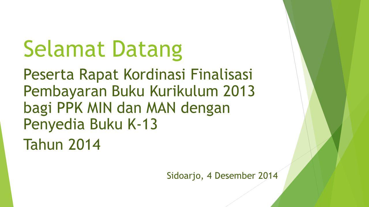 Selamat Datang Peserta Rapat Kordinasi Finalisasi Pembayaran Buku Kurikulum 2013 bagi PPK MIN dan MAN dengan Penyedia Buku K-13 Tahun 2014 Sidoarjo, 4