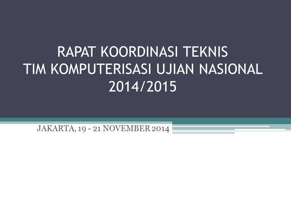 RAPAT KOORDINASI TEKNIS TIM KOMPUTERISASI UJIAN NASIONAL 2014/2015 JAKARTA, 19 - 21 NOVEMBER 2014