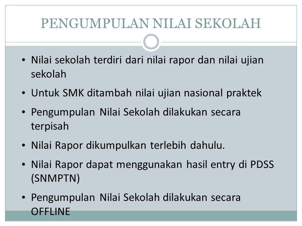 PENGUMPULAN NILAI SEKOLAH Nilai sekolah terdiri dari nilai rapor dan nilai ujian sekolah Untuk SMK ditambah nilai ujian nasional praktek Pengumpulan N