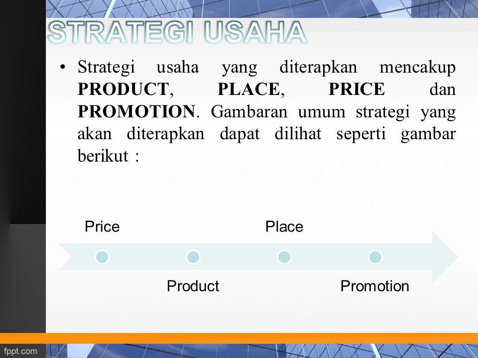 Strategi usaha yang diterapkan mencakup PRODUCT, PLACE, PRICE dan PROMOTION. Gambaran umum strategi yang akan diterapkan dapat dilihat seperti gambar