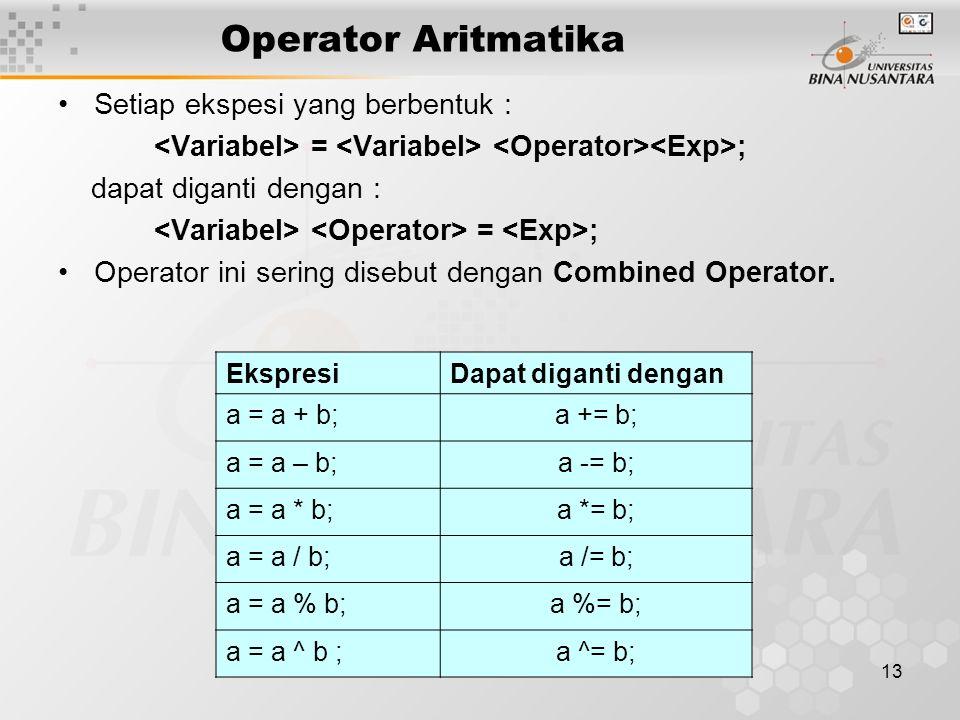 13 Operator Aritmatika Setiap ekspesi yang berbentuk : = ; dapat diganti dengan : = ; Operator ini sering disebut dengan Combined Operator. EkspresiDa