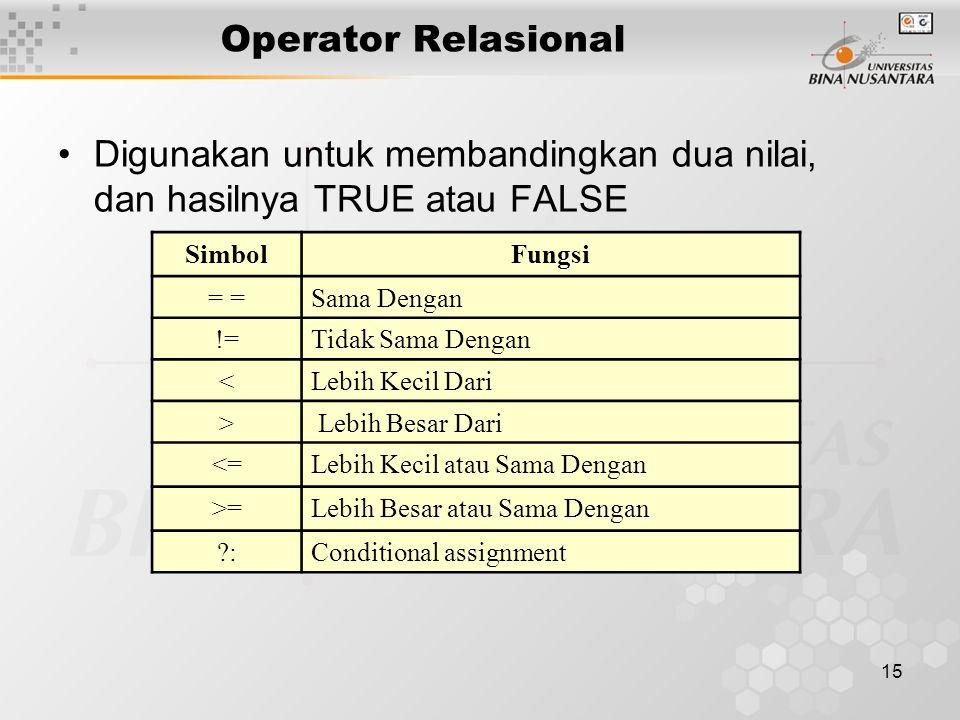 15 Operator Relasional Digunakan untuk membandingkan dua nilai, dan hasilnya TRUE atau FALSE SimbolFungsi = Sama Dengan !=Tidak Sama Dengan <Lebih Kec
