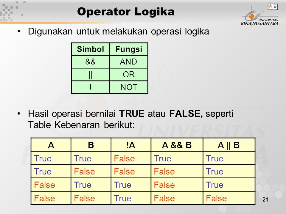 21 Operator Logika Digunakan untuk melakukan operasi logika Hasil operasi bernilai TRUE atau FALSE, seperti Table Kebenaran berikut: SimbolFungsi &&AN