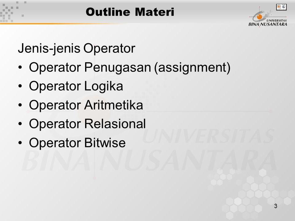 3 Outline Materi Jenis-jenis Operator Operator Penugasan (assignment) Operator Logika Operator Aritmetika Operator Relasional Operator Bitwise