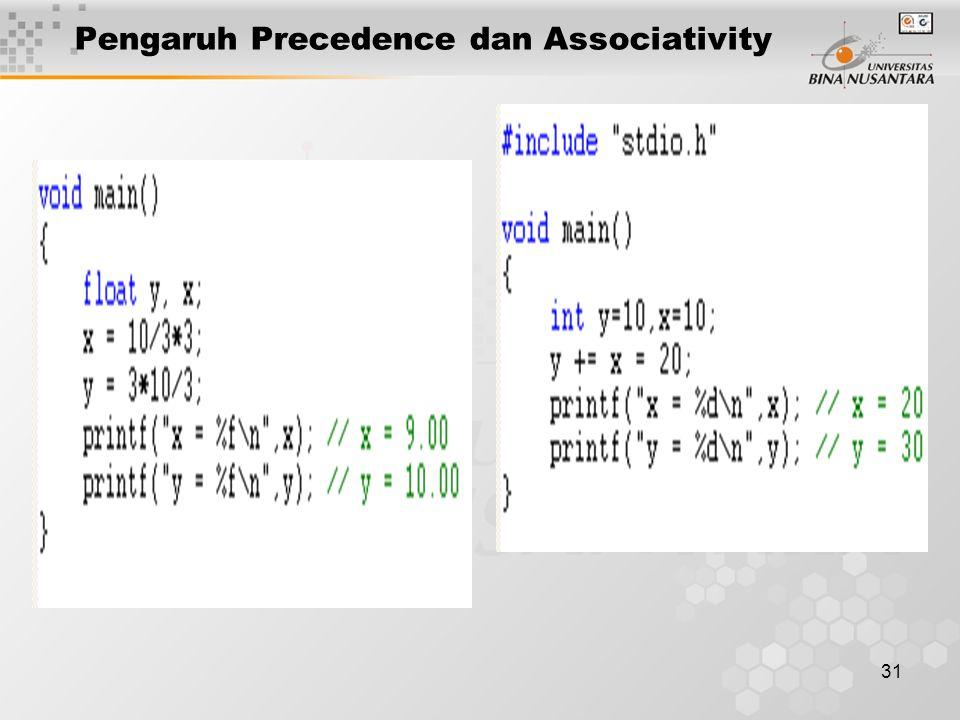 31 Pengaruh Precedence dan Associativity