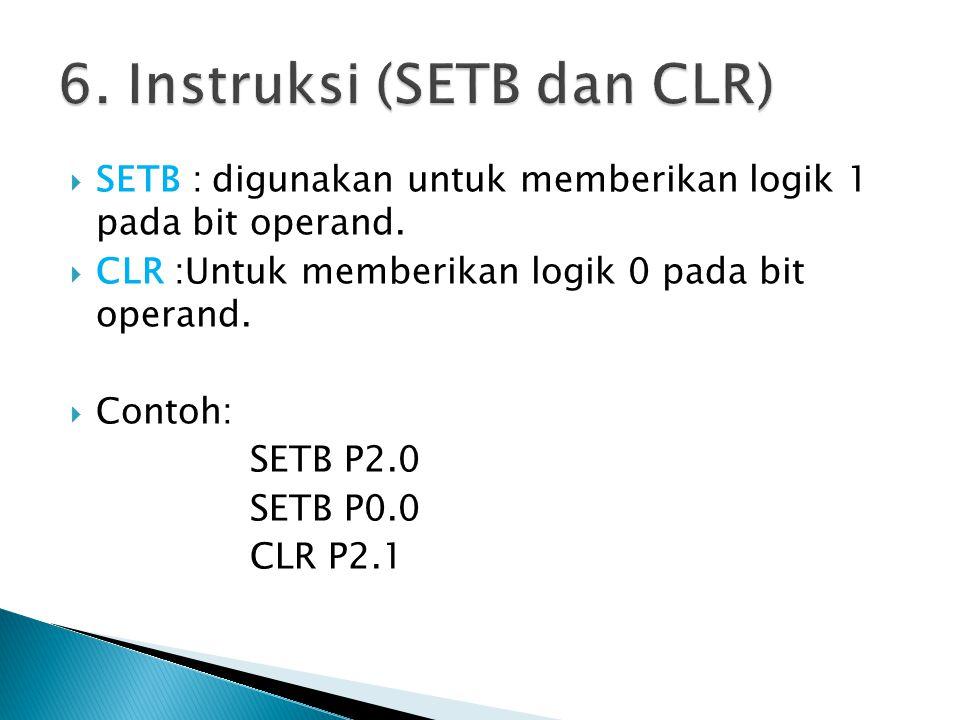  SETB : digunakan untuk memberikan logik 1 pada bit operand.