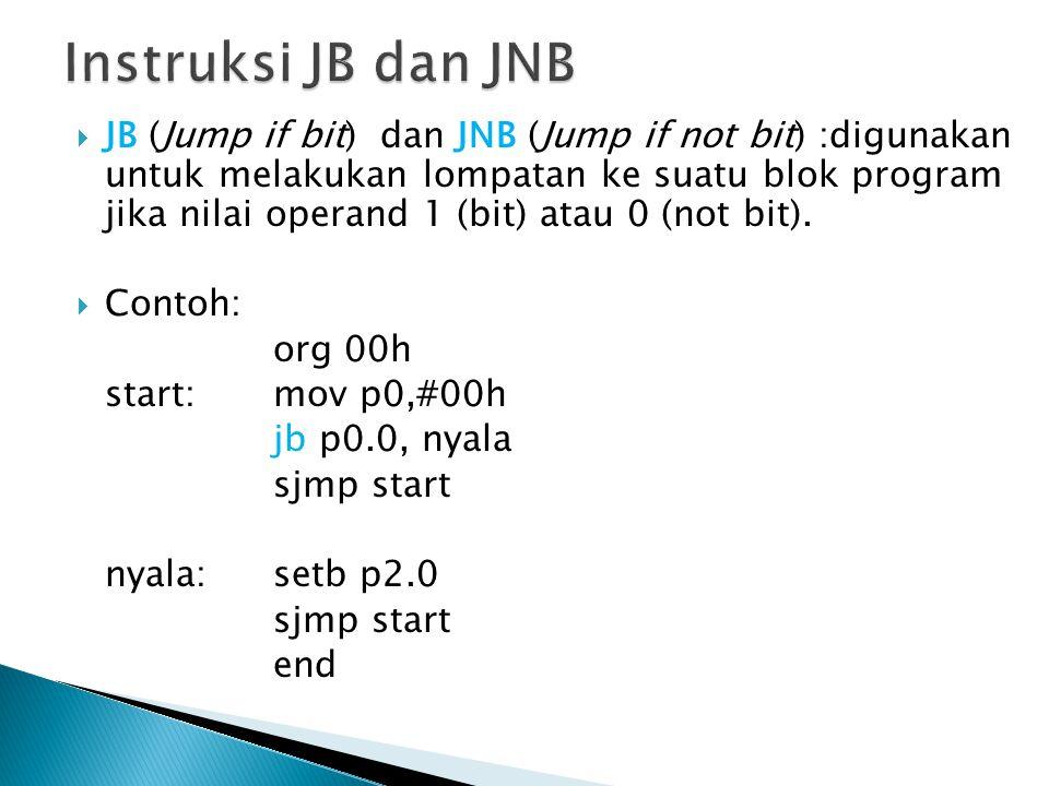 JB (Jump if bit) dan JNB (Jump if not bit) :digunakan untuk melakukan lompatan ke suatu blok program jika nilai operand 1 (bit) atau 0 (not bit).
