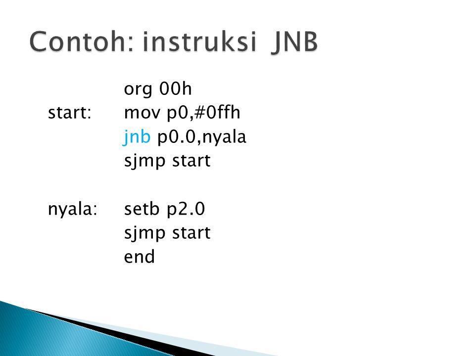 org 00h start: mov p0,#0ffh jnb p0.0,nyala sjmp start nyala: setb p2.0 sjmp start end