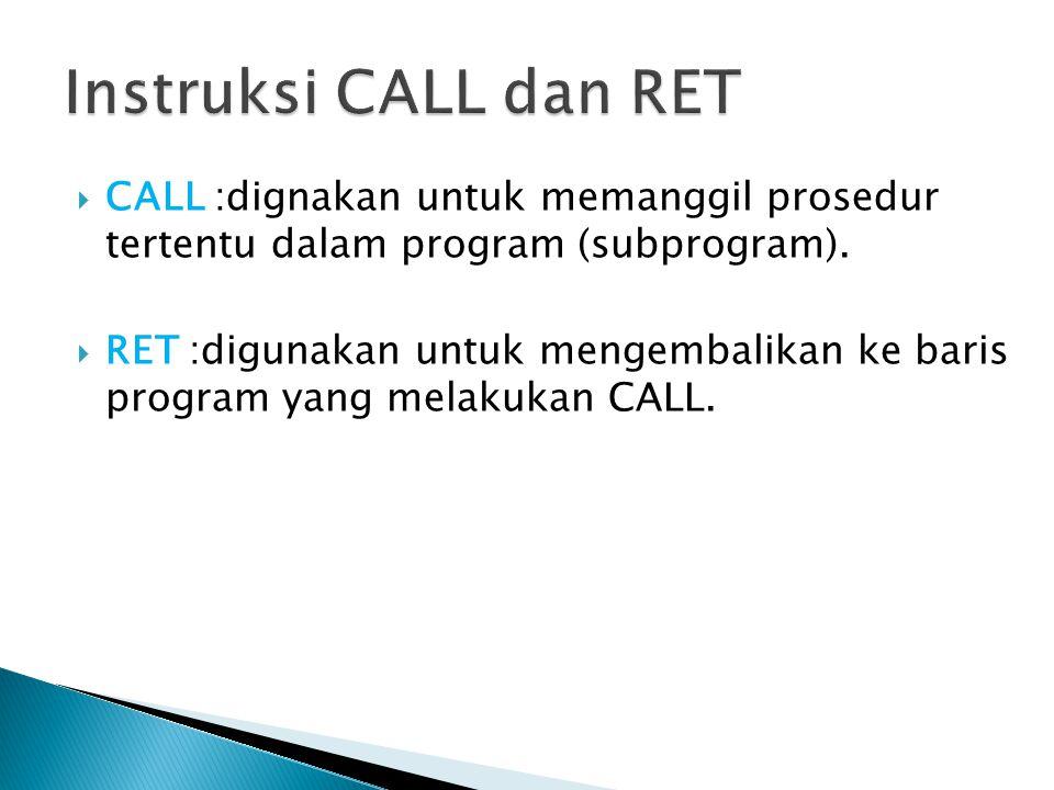  CALL :dignakan untuk memanggil prosedur tertentu dalam program (subprogram).