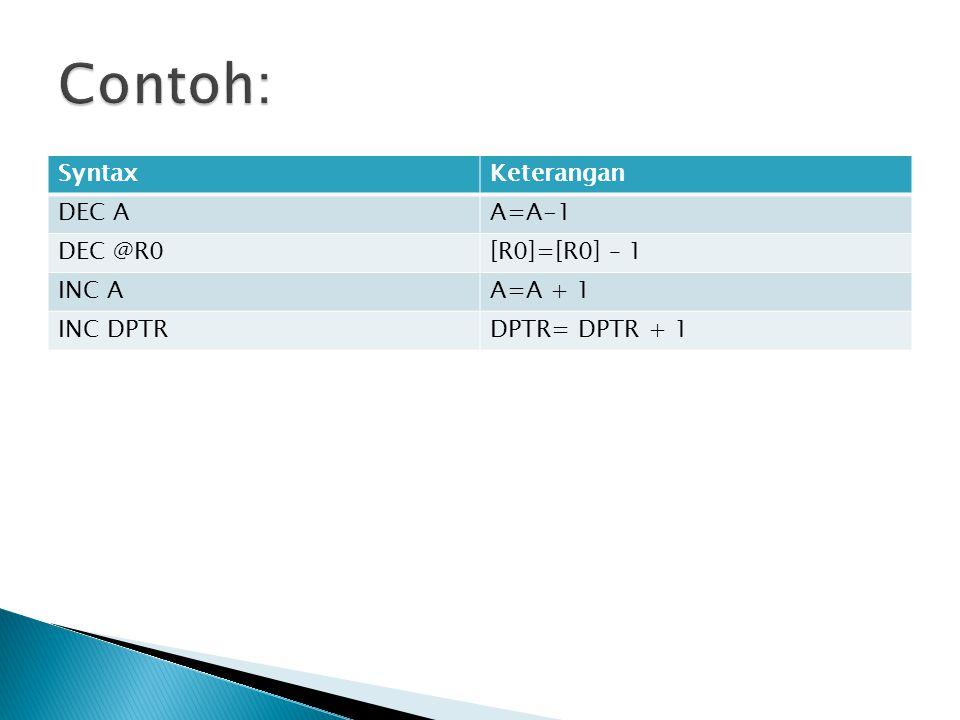 SyntaxKeterangan DEC AA=A-1 DEC @R0[R0]=[R0] – 1 INC AA=A + 1 INC DPTRDPTR= DPTR + 1