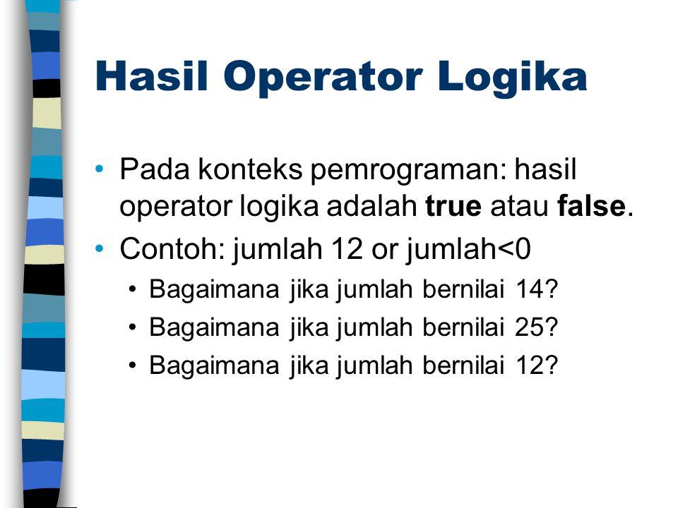 Hasil Operator Logika Pada konteks pemrograman: hasil operator logika adalah true atau false. Contoh: jumlah 12 or jumlah<0 Bagaimana jika jumlah bern