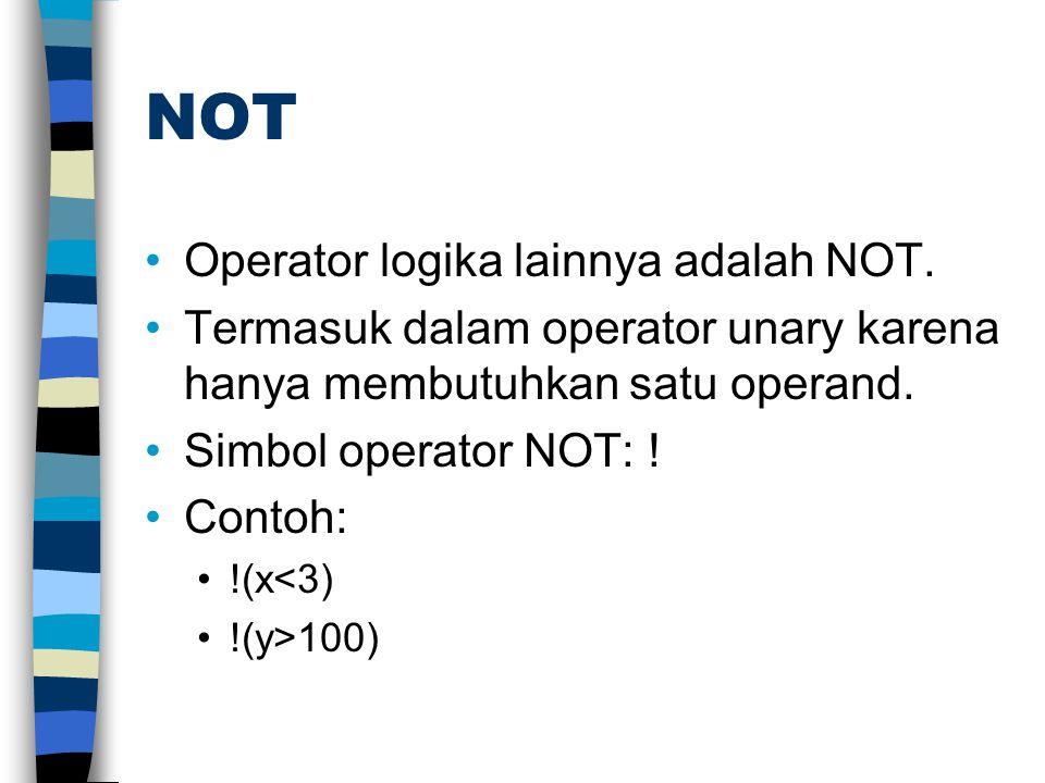 NOT Operator logika lainnya adalah NOT. Termasuk dalam operator unary karena hanya membutuhkan satu operand. Simbol operator NOT: ! Contoh: !(x<3) !(y