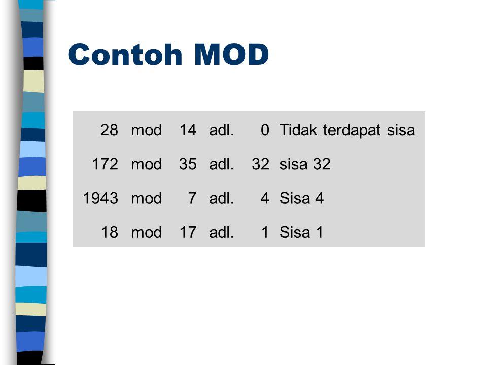 Contoh MOD 28mod14adl.0Tidak terdapat sisa 172mod35adl.32sisa 32 1943mod7adl.4Sisa 4 18mod17adl.1Sisa 1