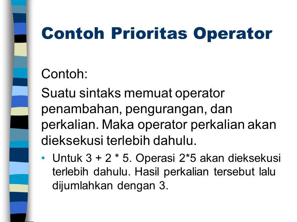 Contoh Prioritas Operator Contoh: Suatu sintaks memuat operator penambahan, pengurangan, dan perkalian. Maka operator perkalian akan dieksekusi terleb