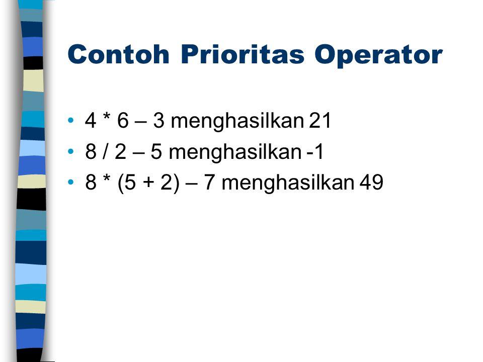 Operator Binary Operator Binary : operator yang memerlukan dua operand (pelaku operasi) Contoh: operator penjumlahan minimal harus memiliki dua operand: 6 + 7.