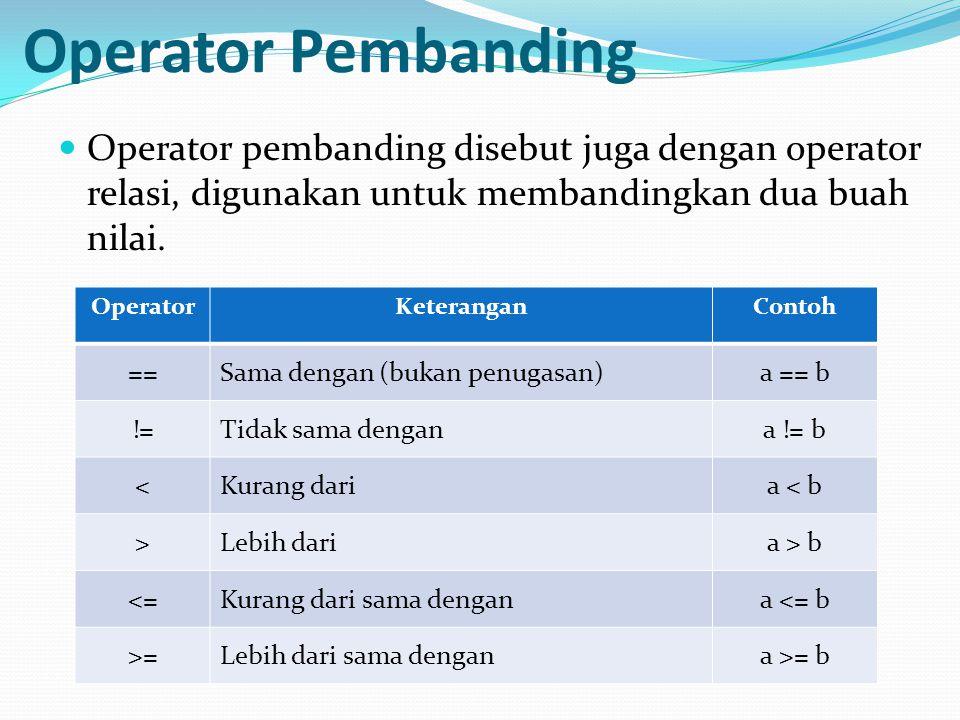 Operator Pembanding Operator pembanding disebut juga dengan operator relasi, digunakan untuk membandingkan dua buah nilai. OperatorKeteranganContoh ==